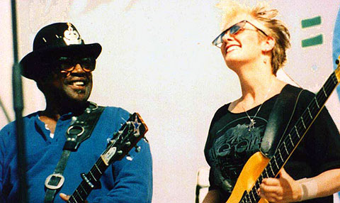 Female Bass Player Debbie Hastings and Bo Diddley